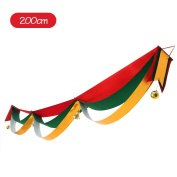 A-SZCXTOP Christmas Decoration 3 Layer Wave Flag Bunting With Bells and Ball For Party Decoration - Gold Cloth - 2 Metres