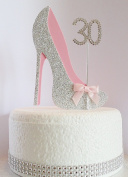 30th Birthday Cake Decoration Shoe with Diamante Number Non- Edible