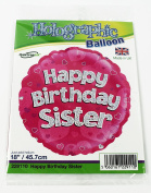 Happy Birthday Sister Helium Foil Balloon Round 46cm Party Decorations Her Pink