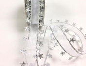 Bertie's Bows Christmas White Sheer Ribbon with Silver Star Edge 25mm Ribbon on a 3m Length