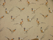 Mini Prints Pheasants Country Side Animals Linen Look Fabric Curtain Upholstery - Sold By The Metre