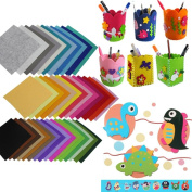 Kingko® 40PCS Different Soild Colour DIY Non Woven Felt Fabric Boundle Patchwork Thick Material Squares for Sewing Dolls Craft
