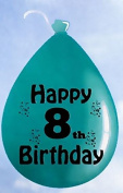 "10 Multicolour Happy 8th Birthday Balloons Boy Girl Kid Latex Helium Age Balloon Party Decorations 23cm / 9"""