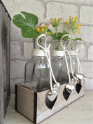 Three Glass Bottles in Vintage Wooden Heart Crate Wedding Decoration Bud Vase