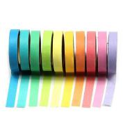 dragonaur 10 Pcs 5m Multicolor Mini Long DIY Sticky Paper Self Adhesive Roll Tapes Set