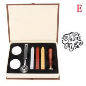 Holo Cute Vintage Alphabet Wax Badge Seal Stamp Wax Kit Set Tool Letter Gift Box Set