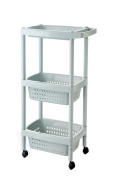 Multifunction Three layers Finishing rack kitchen bathroom plastic Storage rack With pulley Landing Shelf , blue