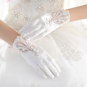 KHSKX-Bridal Gloves, White, Short Satin, Lace Gloves, Wedding Gloves, Wedding Dresses, Gloves