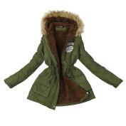 Komise Women Girks Winter Warm Long Coat Faux Fur Hooded Jacket Slim Parka Outwear