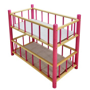 """NEW LARGE WOODEN PINK BUNK BED COT CRIB DOLLS Xmas TOY Fits Up to 50cm 19"""" Doll"""