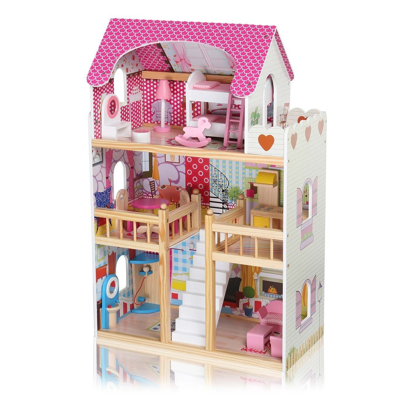 Baby Vivo Wooden Kids Doll House Dollhouse Staircase Barbie Dolls