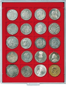 Lindner 2120 Coin box with 20 square indents for coins / capsules of Ø 47 mm-Grey / red insert