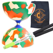 Red/ White/ Green Jester Diabolo with Aluminium 'Metal' Sticks and Carry Bag - Rubber Diablo Set