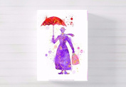 mary poppins nursery a3 canvas picture nursery gift watercolour paint splatter ready to hang