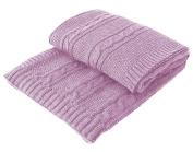 Wool Blanket Merinowolle. Stylish Knitted Blanket Blanket Bedspread Handmade for Children's, super soft & warm, Various Colours & Sizes, lavender, 80 x 90 cm