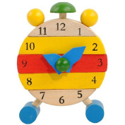 QHJ Hand Made Wooden Clock Toys for Kids Learn Time Clock Educational Toys