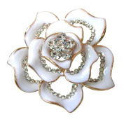 ODN Golden Plated Clear Crystal White Enamel Flower Brooch Pin
