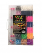 Complete Krazy Looms Kit - Create your own bracelets, rings or necklaces - 1 weaving loom stencil, 3800 Latex-free Elastic Bands, 50 S clips, 6 Charms, 1 Hook and 10 Accessories