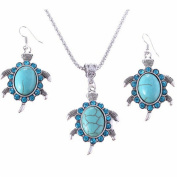 Gluckliy Women Girls Turtle Pendant Alloy Turquoise Chain Necklace and Earrings Set Jewellery Accessories Gift