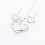 Gluckliy Modeschmuck Damen Halskette und Ohrringe mit Doppel Herz Anhänger Geschenk Set