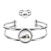 Sheepdog Image Design Silver Plated Bangle and Adjustable Ring Gift Set