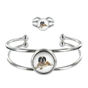 St Bernard Image Design Silver Plated Bangle and Adjustable Ring Gift Set