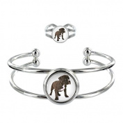 American Stafforshire Terrier Puppy Image Design Silver Plated Bangle and Adjustable Ring Gift Set
