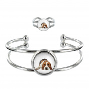 Beagle Image Design Silver Plated Bangle and Adjustable Ring Gift Set
