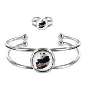 Panda Image Design Silver Plated Bangle and Adjustable Ring Gift Set