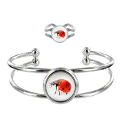 Ladybird Image Design Silver Plated Bangle and Adjustable Ring Gift Set