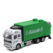 Garbage Truck Toys Pull-back Orange Realistic Truck Model Die Cast Metal and Plastic Lorry with Openable Back Door Recycling Truck Toys