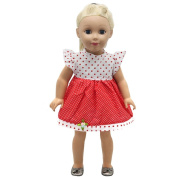 HUUATION 46cm American Girl Doll Clothes Girl Doll Dress Outfit Fits 46cm American Girl Dolls Dress Skirts Red White