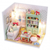 CYNDIE Dollhouse Miniature DIY House Kit Wood Cute Room with LED Furniture and Cover Girl Gift Toy, Leisure Time