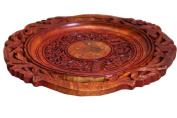 Thanks Giving Gift for your Loved Ones , Wooden Beautiful Handmade Serving Round Plate ,With Flower Design and Carved Brass Inlay,Serving Tray