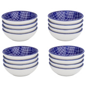 Vancasso 16 Pieces 3.5 Inches Japanese Style Blue and White Multi-Colour Porcelain Dish set