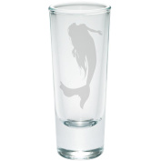 Mermaid Etched Shot Glass Shooter Clear Glass Standard One Size