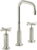 Kohler 14408-3-Sn Purist Widespread Bathroom Sink Faucet With High Cross Handles And High Gooseneck Spout, Vibrant Polished Nickel
