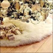 HENGSONG White Christmas Tree Plush Skirt Base Cover Decoration Xmas Decorations 78CM