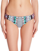 Nanette Lepore womens Kimono Patchwork Print Siren Side Shirred Bikini Bottom Swimsuit Bottoms