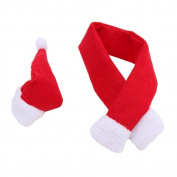Pinzhi 1 Red Christmas Scarf And 1 Red Christmas Hat Decorate Wine Bottle Cover Bag for Christmas Dinner Table