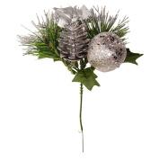 Artificial Pinecone Christmas Pick Silver