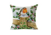 ZHJZ Christmas Decorative Linen Square Throw Pillow Case Cushion Cover