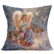 Mingfa Christmas Pattern Merry Christmas Pillow Cases Linen Soft Sofa Bed Home Decor Pillowcase Cushion Cover
