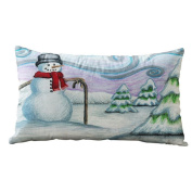 Christmas Cushion Cover Rectangle Mingfa Soft 30cm x 50cm Cotton Linter Throw Pillow Case for Car Bed Home Decoration