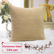 Home Brilliant Decor Decorative Soft Velvet Corduroy Striped Square Throw Pillow Cushion Cover for Bench, 18 x 18 inch (45cm), Taupe