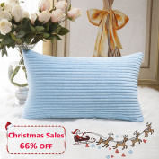 Home Brilliant Decorative Striped Corduroy Rectangle Cushion Cover Oblong Pillow Cover for Couch, 30cm x 50cm , Baby Boy Blue