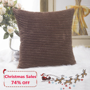 Home Brilliant Decor Solid Supersoft Corduroy Stripes Square Throw Fall Pillow Cushion Covers Decorative, 18x18 inches (45cm), Brown