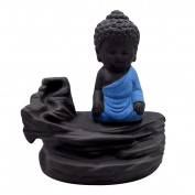 Millya Ceramic Backflow Incense Burner Monk Buddha Status Tableware Decoration,Blue