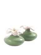 Millefiori Milano Extra Small Flower Diffuser, Ceramic, Green, 8.4 x 15.4 x 7.6 cm