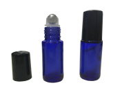 Empty 6 Pcs Blue Glass 5ml Roller Bottles Refillable Essential Oil Metal Roller Ball Bottles Perfume Lotion Sample Roller Glass Bottles With Plastic Black Caps